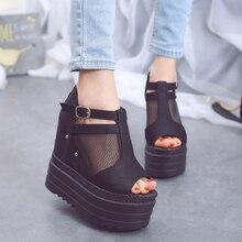 Lucyever Woman Height Increasing Sandals 2019 Summer Women Concise Platform