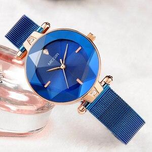 Image 5 - MEGIR Luxury Women Watches Reloj Mujer Blue Stainless Steel Mesh Band Elegant Ladies Watch Women Bracelet Clock Zegarek Damski