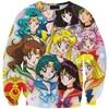 2015 New 3D Sweatshirts Hoodies Print Sailor Moon Pullover Hoodie For Men Women