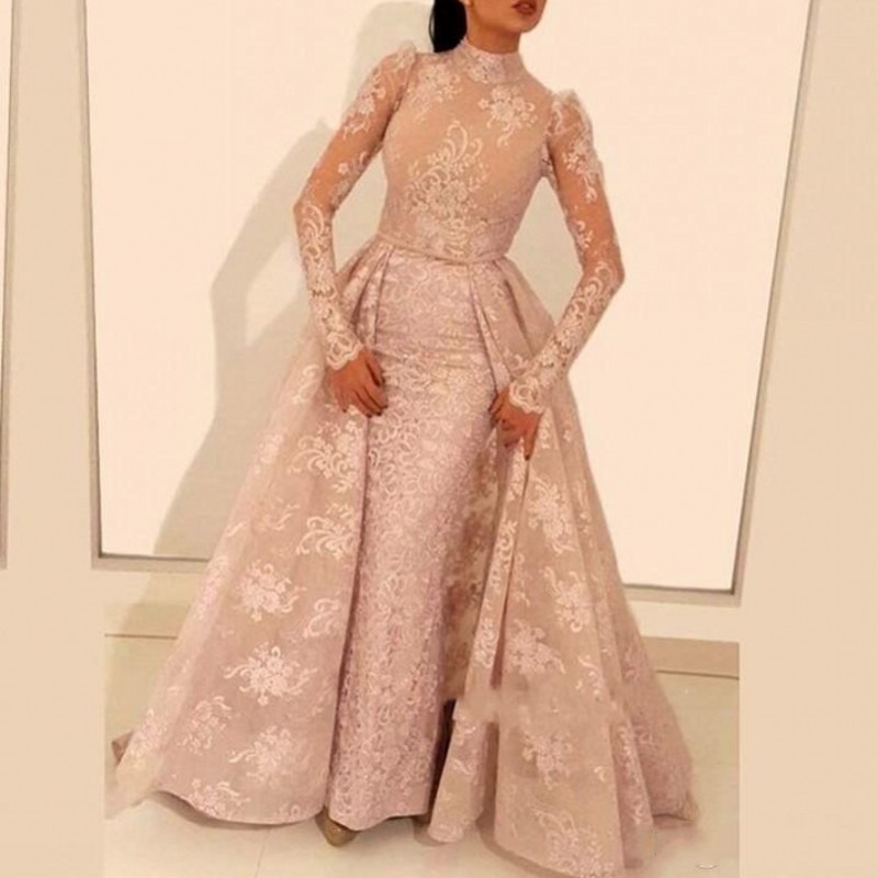Abiye   Evening     Dresses   Illusion Appliques Sheer Sasudi Arabian   Evening   Gowns Long Sleeves Removable Overskirt robe de soiree