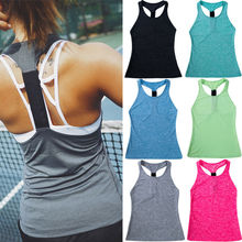 Sportswear Women Solid Stretch Bandage Yoga Tank Top T Shirt Back Hollow Vest Tanks Sport Clothes Fitness топ