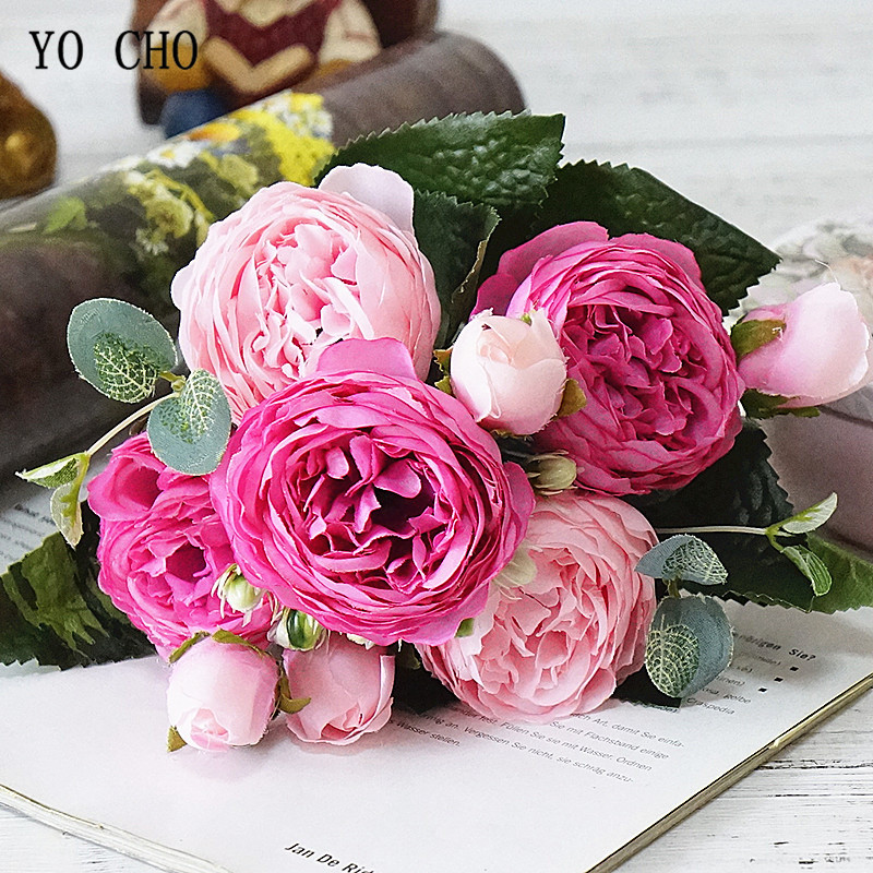 Beautiful Rose Peony Artificial Silk Flowers small bouquet flores home party spring wedding decoration mariage fake Flower (24)