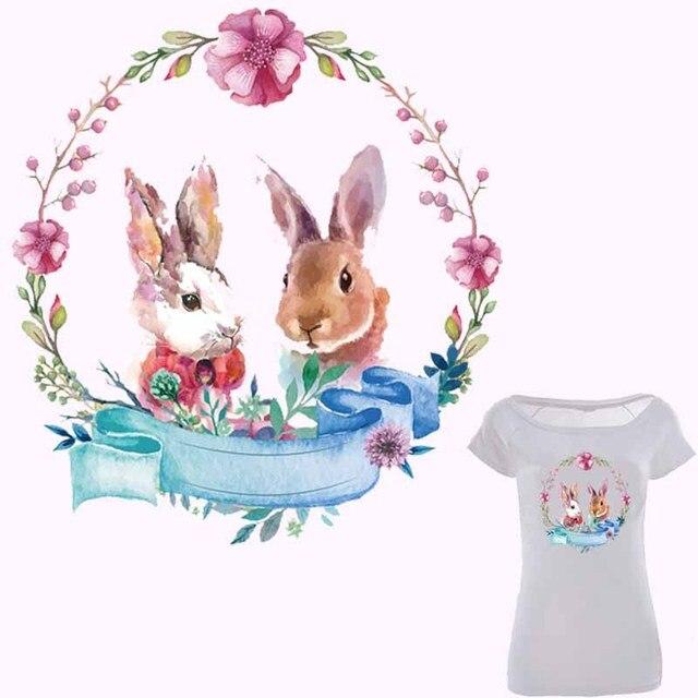Милый кролик железа на Нашивки для одежда цветок патч легко печати по бытовой Утюги уровня моющиеся Наклейки аппликация