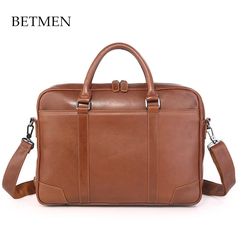 BETMEN Vintage Luxury Genuine Leather Bag Men Handbag Shoulder Bags Business Men Briefcase Laptop Bag