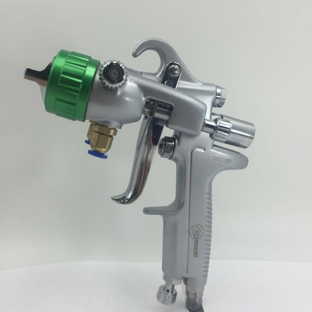 SAT1189 nano cromo tinta spray arma pistola de pintura de ar de alta pressão bocal duplo espelho de prata chapeamento pistola de pintura pulverizador pneumático