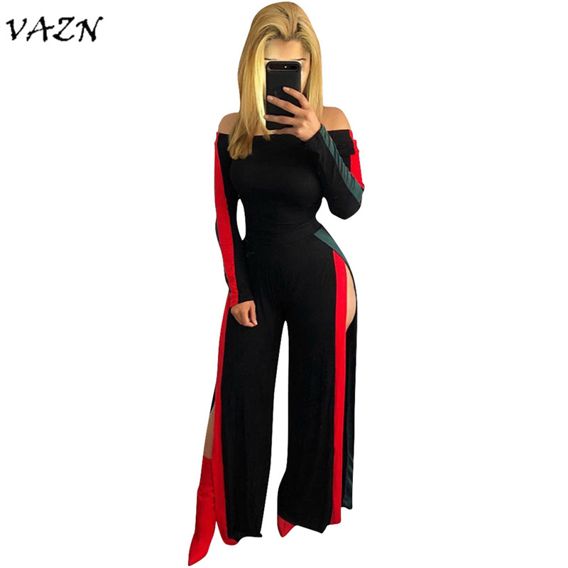 VAZN Top Quality New Fashion <font><b>2018</b></font> <font><b>Sexy</b></font> <font><b>Jumpsuits</b></font> Long Sleeve Slash Neck Slit Loose <font><b>Sexy</b></font> <font><b>Jumpsuits</b></font> Women W8026 image