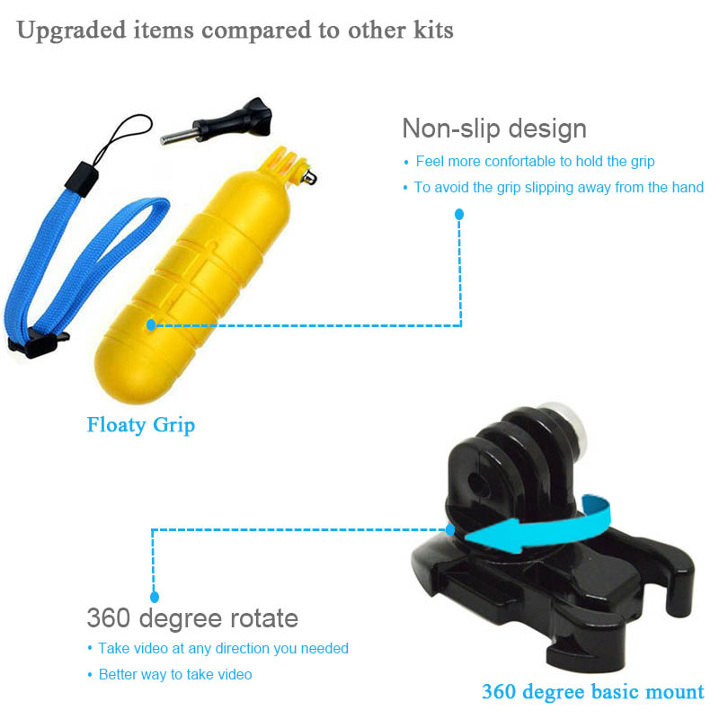 Image 5 - Husiway Accessories kit for Gopro Hero 8 7 6 5 Black Hero 4 3 Session DJI Osmo Action Set Mount for SOOCOO / Akaso / xiaomi13N-in Sports Camcorder Cases from Consumer Electronics