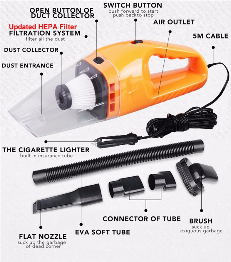Portable Car Vacuum Cleaner Car and Hand Held Wet and Dry dual-use Auto Cigarette Lighter Hepa Filter 5M Wire 120W 12V