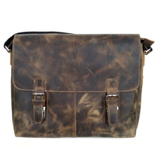 Promotions! High Quality Vintage men bag crazy horse leather cross body men shoulder messenger bags 14 inch laptop bag Best Gift