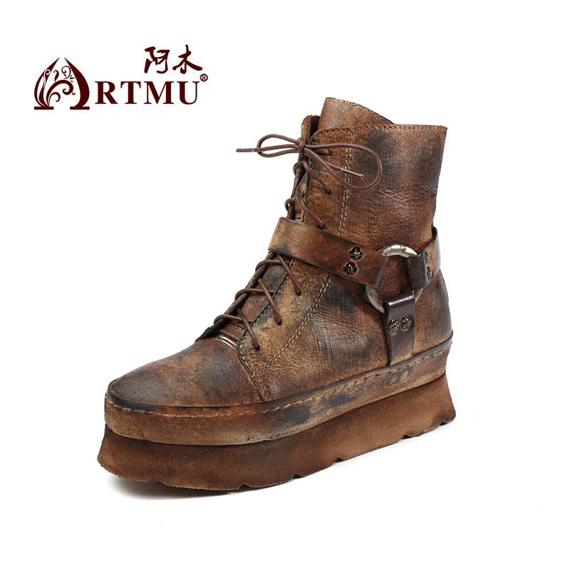 2017 Autumn and Winter Vintage Genuine Leather Boots Platform Thick Sole Female Increased Internal Martin Boots T1669-2 2016 new martin male autumn and winter genuine leather platform medium leg mens equestrian vintage motorcycle boots