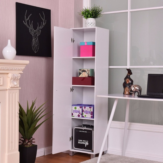 Us 107 68 Giantex 60 Storage Cabinet Locker Organizer Home Office Living Room 4 Tier Modern Wood Cabinet Single Door Furnitur Hw56198 In Living