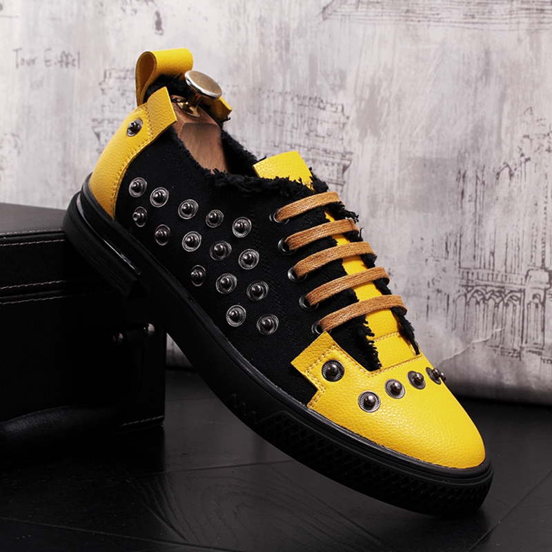 QWEDF hommes mode Punk chaussures en cuir printemps automne Rivets mocassins mâle décontracté Denim chaussures personnalité loisirs baskets X1-26