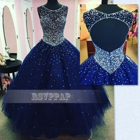 Stunning Long Sweet 16 Dresses Navy Blue Ball Gown Puffy Scalloped Beaded Sequined Top Backless Tulle