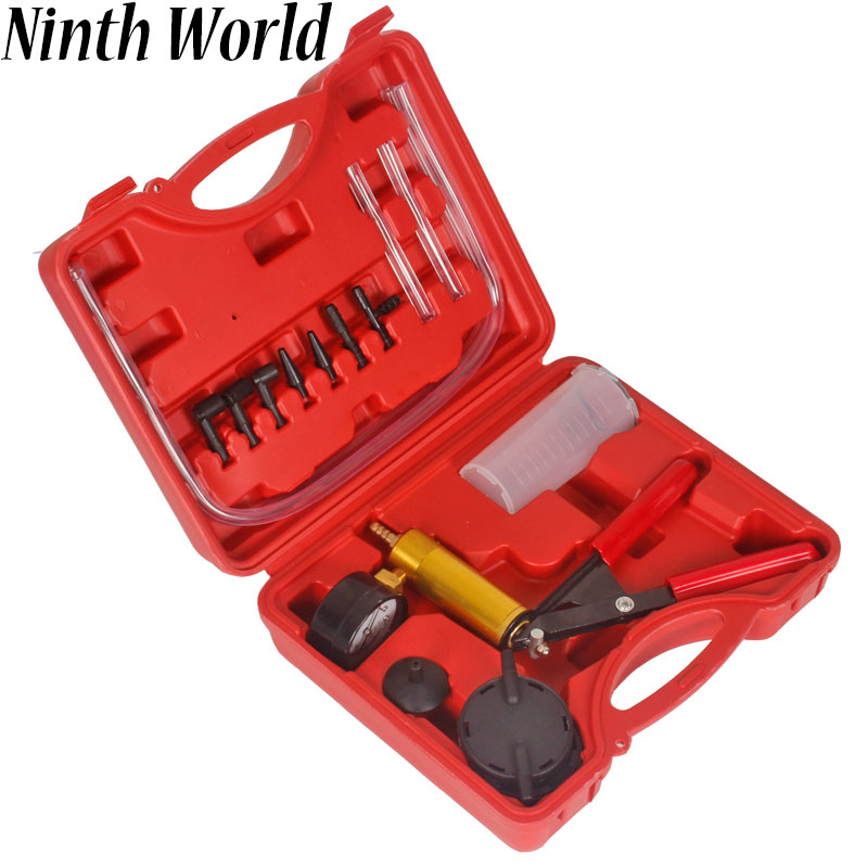 Ninth World  Car Auto Hand Held Vacuum Pistol Pump Brake Bleeder Adaptor Fluid Reservoir Tester Kit 2 in 1 Tool Kits
