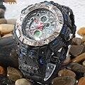 Epozz 2016 Moda Reloj Análogo-digital del mens relojes deportivos de natación Masculina impermeable 50 m plástico redondo anillo de horas al aire libre E1311