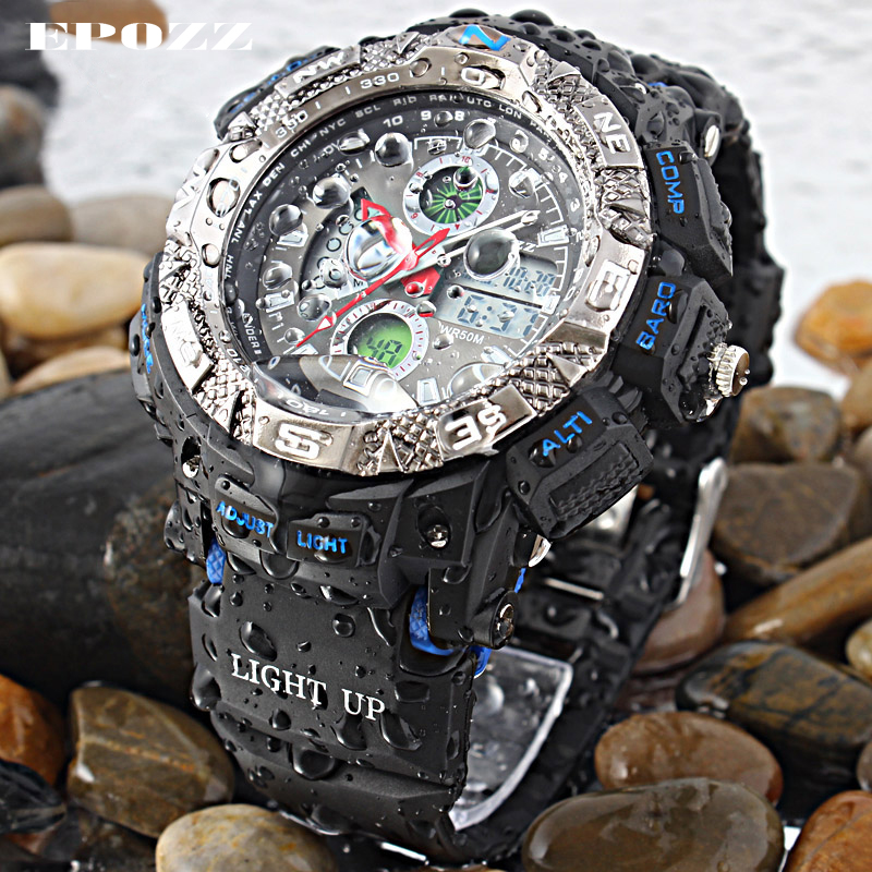 Epozz Fashion Analog Digital Mens Sport Watches Swimming Male Watch Waterproof 50m Round Plastic Ring Hours Outdoor E1311