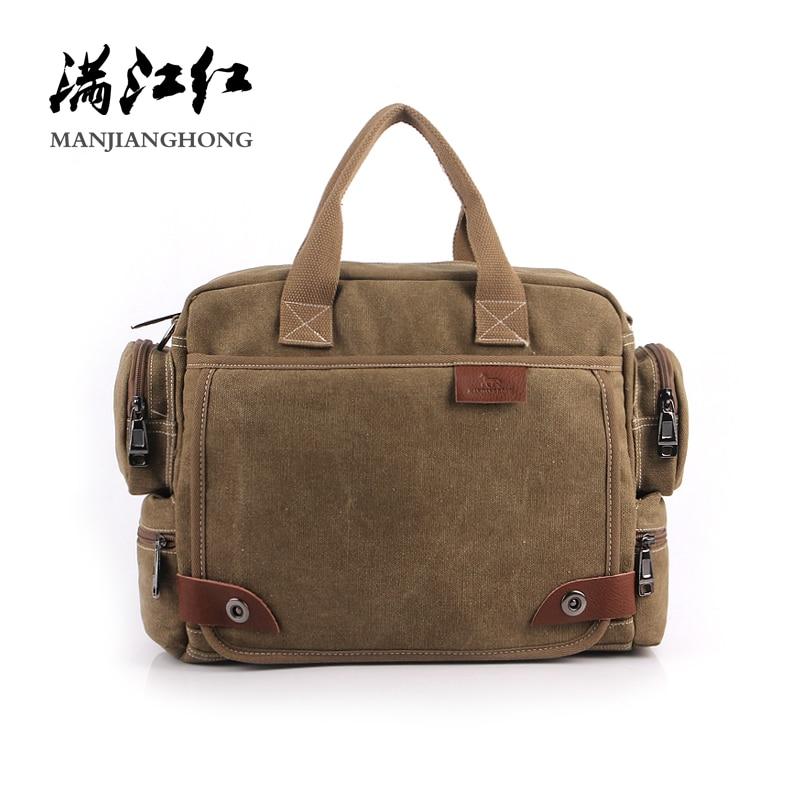 купить Famous Canvas Handbag Vintage Canvas Shoulder Bag Men Casual Crossbody Bags For Men Business Male Messenger Bag Briefcase 1101 недорого