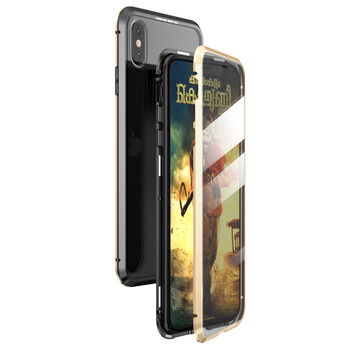 360 Full Protect Magnetic Case for iPhone XR XS MAX X 9 8 7 Plus SE 2020 Case Glass Cover for iPhone 11 Pro Max Case coque Funda - For iPhone 11, Black Gold