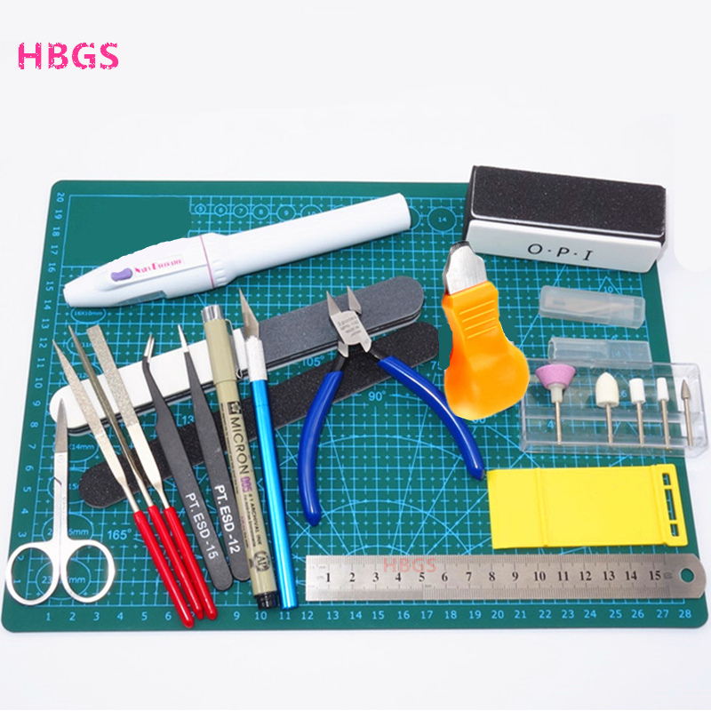 Hobby Modelling Tools Set Model DIY Accessories Cutting Mat Self Healing Grinding Machine Polishing Tools Kit For Gundam