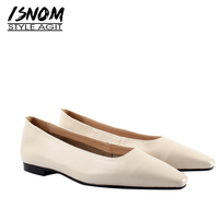 ISNOM Shallow Genuine Leather Women Flats Pointed Toe Flat With Footwear Fashion Casual Female Shoes Spring 2019 New Shoes Woman