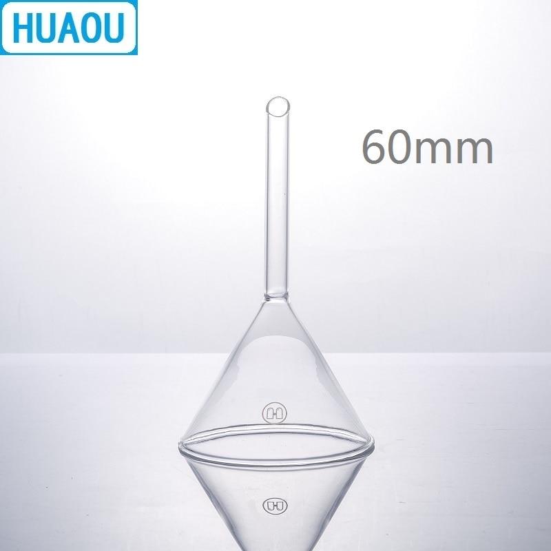 HUAOU 60mm Funnel Short Stem 60 Degree Angle Borosilicate 3.3 Glass Laboratory Chemistry Equipment