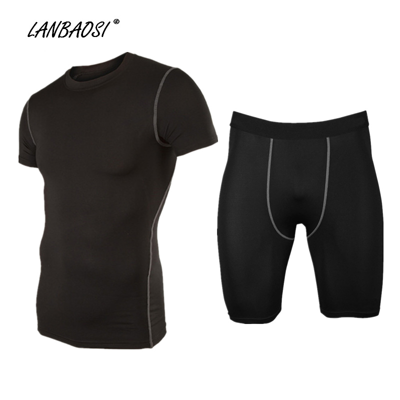 LANBAOSI Mens Sports Compression Tights Set Base Layer Skin Underwear Tops & Shorts for Running Fitness Workout Exercise Yoga