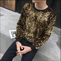 2018 New Sequined round neck tops men long sleeved T shirt rock jazz performance hairstylist clothes male singer stage costumes