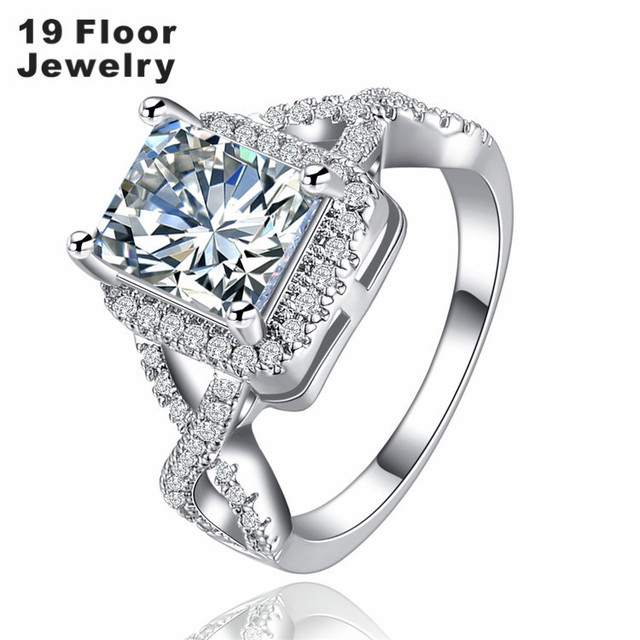 White gold platedjewelry for women engagement romantic party ring sets wedding round luxury bague bijoux New arrived FSR1367