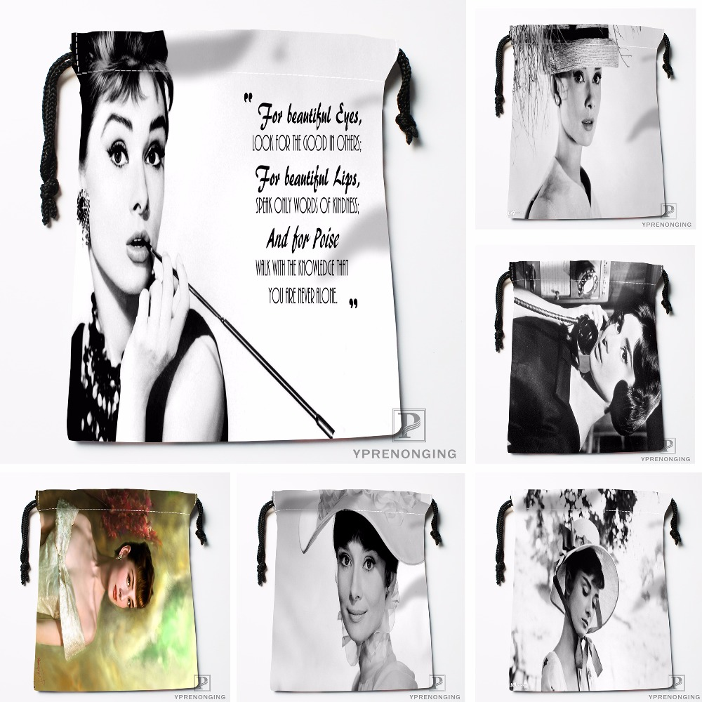 Custom Audrey Hepburn@0 Drawstring Bags Printing Fashion Travel Storage Mini Pouch Swim Hiking Toy Bag Size 18x22cm#180412-11-03