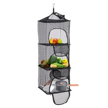 Foldable 3 Layers Drying Net Fish Dishes Mesh Hanging Dry Hanger Rack Shelf Basket with Storage Bag