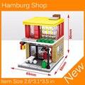 2017 Nuevo Mini Street View Hamburgo Tienda Compatible Con Legoes Bloque de Construcción de Juguetes de la Ciudad