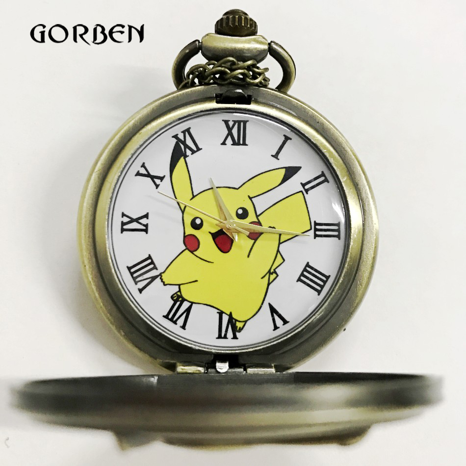 Bronze Pokemon Pikachu Pocket Watch Necklace Chain Anime fans Kids Watches Antique Quartz pocket fob watches Relogio De Bolso