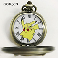 Bronze Pokemon Pikachu Pocket Watch Necklace Chain Anime fans Kids Watches Antique Quartz pocket fob watches Relogio De Bolso