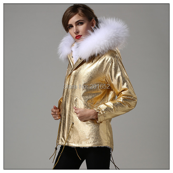 large fur raccoon collar long sleeve outwear mrs fur gold coat women plus size men fur coats jackets