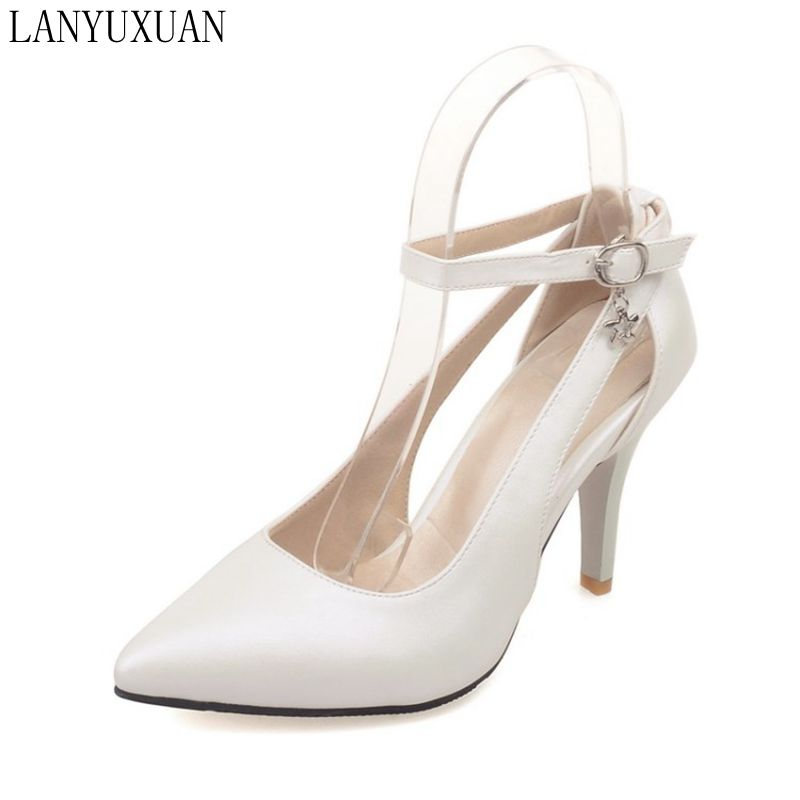 Plus Big Size 34-52 Shoes Woman 2017 New Arrival Wedding Ladies High Heel Fashion Sweet Dress Pointed Toe Women Pumps E-177 2017 new fashion spring ladies pointed toe shoes woman flats crystal diamond silver wedding shoes for bridal plus size hot sale