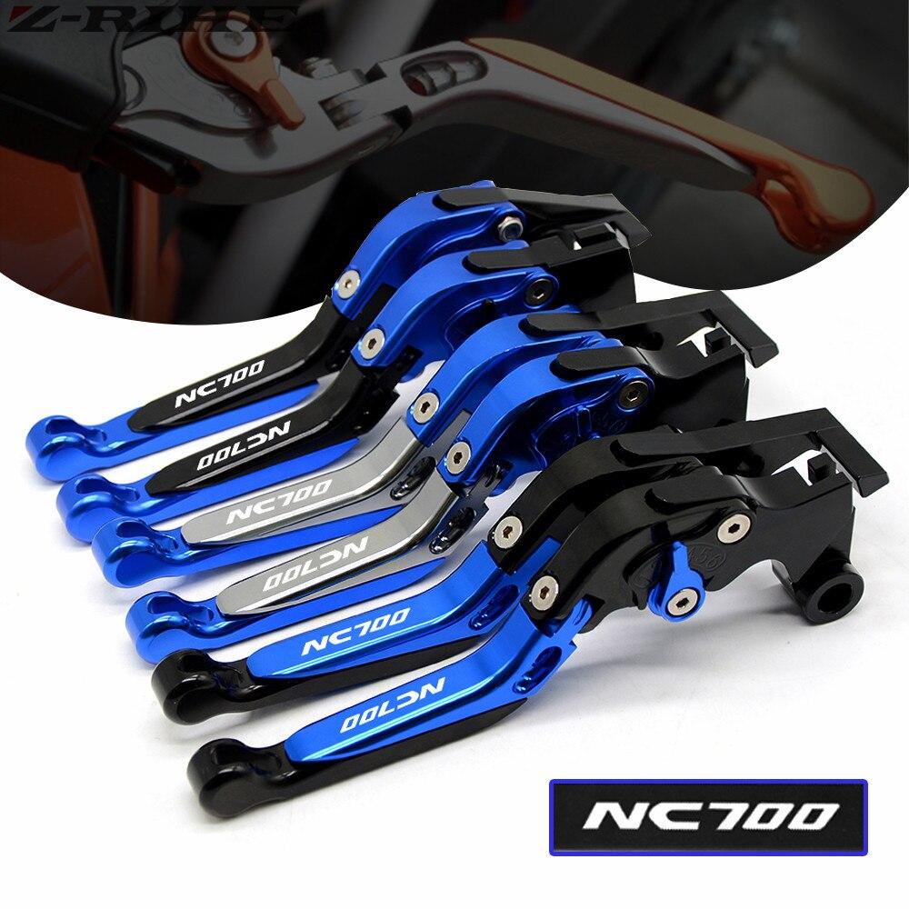 With Logo Blue Titanium For Honda NC700X NC700 X 2012 2013 Folding Extendable Adjustable CNC Motorcycle
