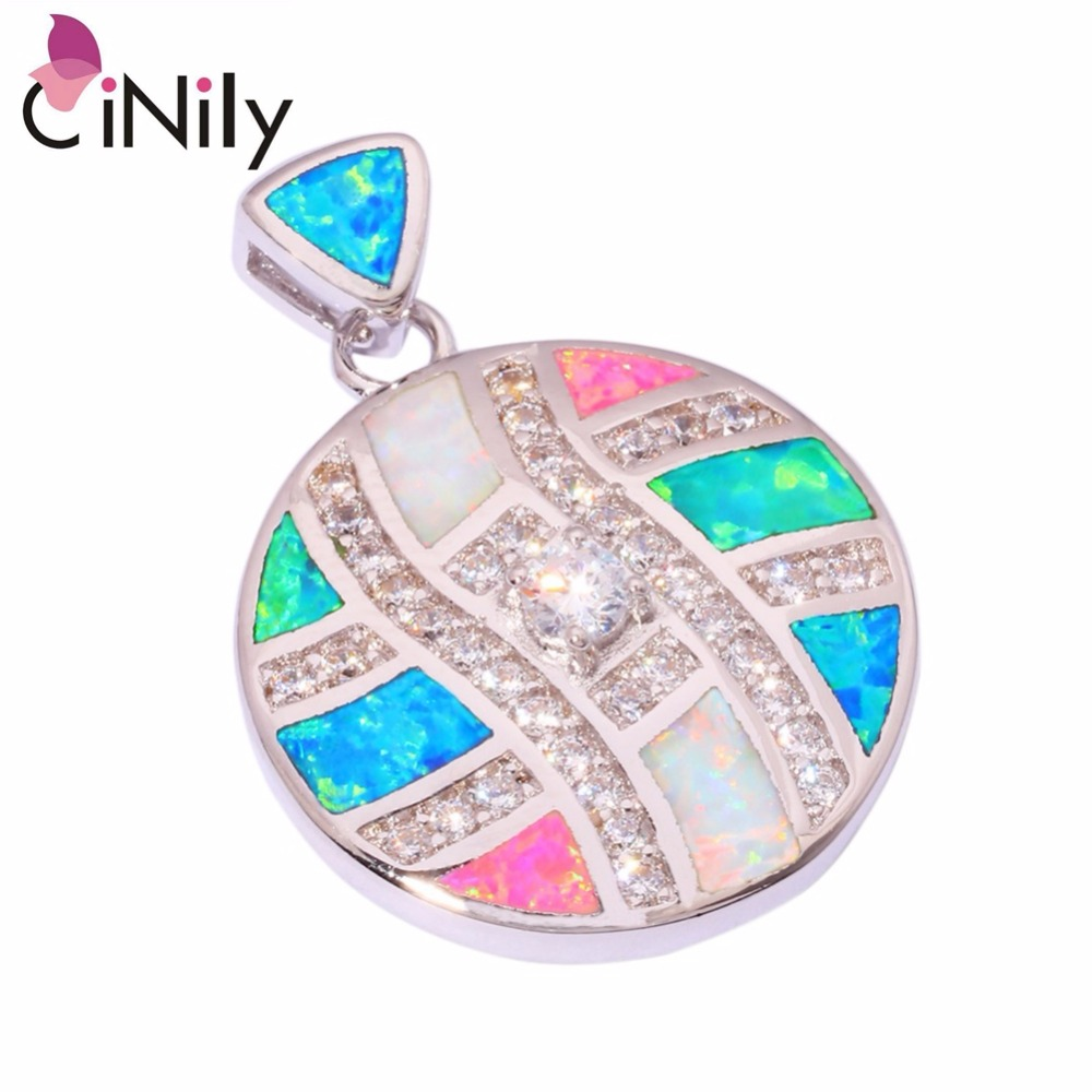 CiNily Created Blue Pink White Fire Opal Cubic Zirconia Silver Plated Pendant Wholesale for Women Jewelry