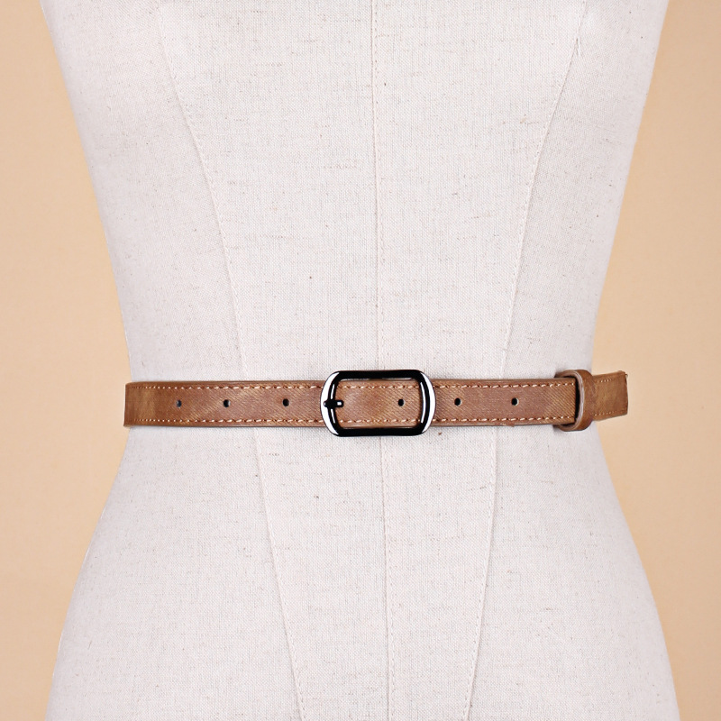2018 New Designer Ladies Red Blue White Black Thin Narrow Leather Belt Female Vintage Pin Buckle Belts for Women Jeans Pants