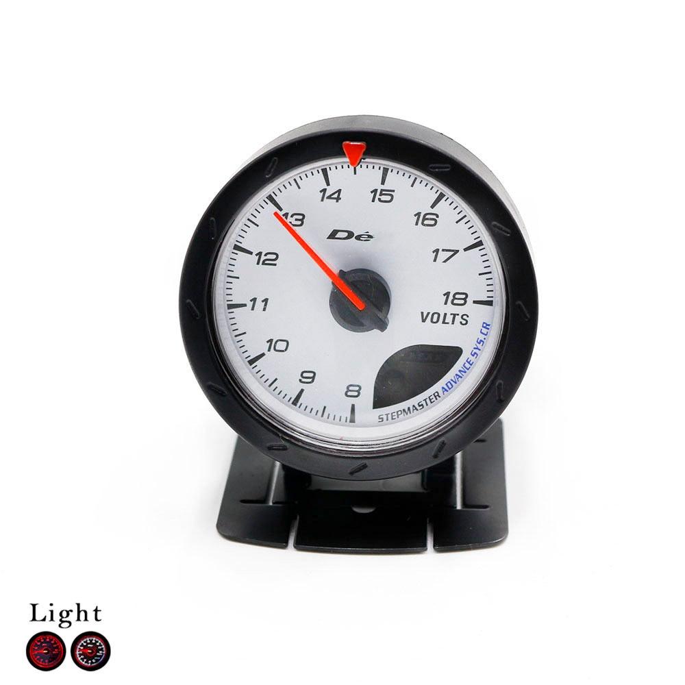Free Shipping 60mm Black Shell Auto Volt Meter 8 16V Red White Lighting Volt Meter Car