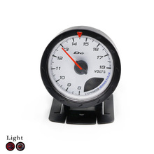Free Shipping 60mm Black Shell Auto Volt Meter 8~16V Red & White Lighting Volt Meter Car Clock Car Styling Auto Gauge Meter