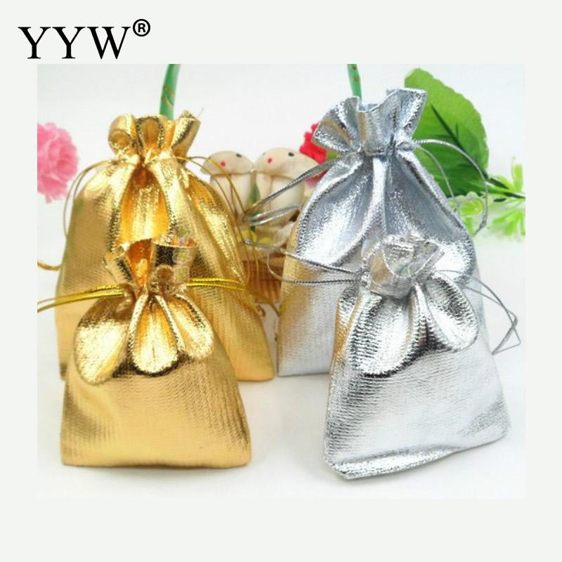 100pcs/bag 5x7cm Adjustable Jewelry Packing Silver/ Gold Colors Drawstring Velvet Bag Wedding Gift Bags & Pouches