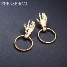 2018 Fashion Earring for women gold color round drop earring palm design personality geometric ear jewelry wholesale(China)