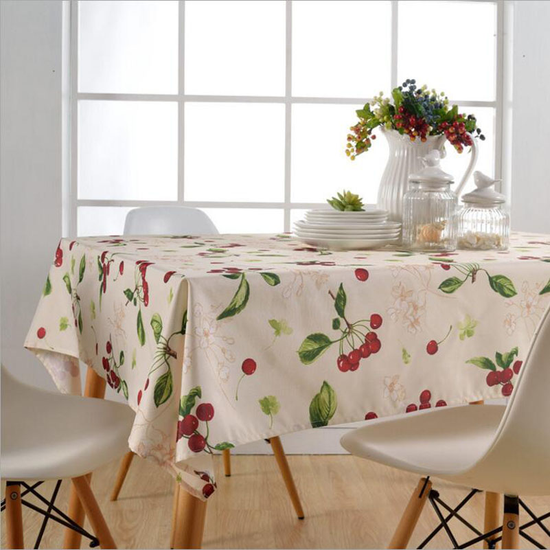 Rectangular Cherry Printed Table Mat Waterproof Oil-antifouling Table Desk Pad Europe Style Table Cloth Decoration Accerssories