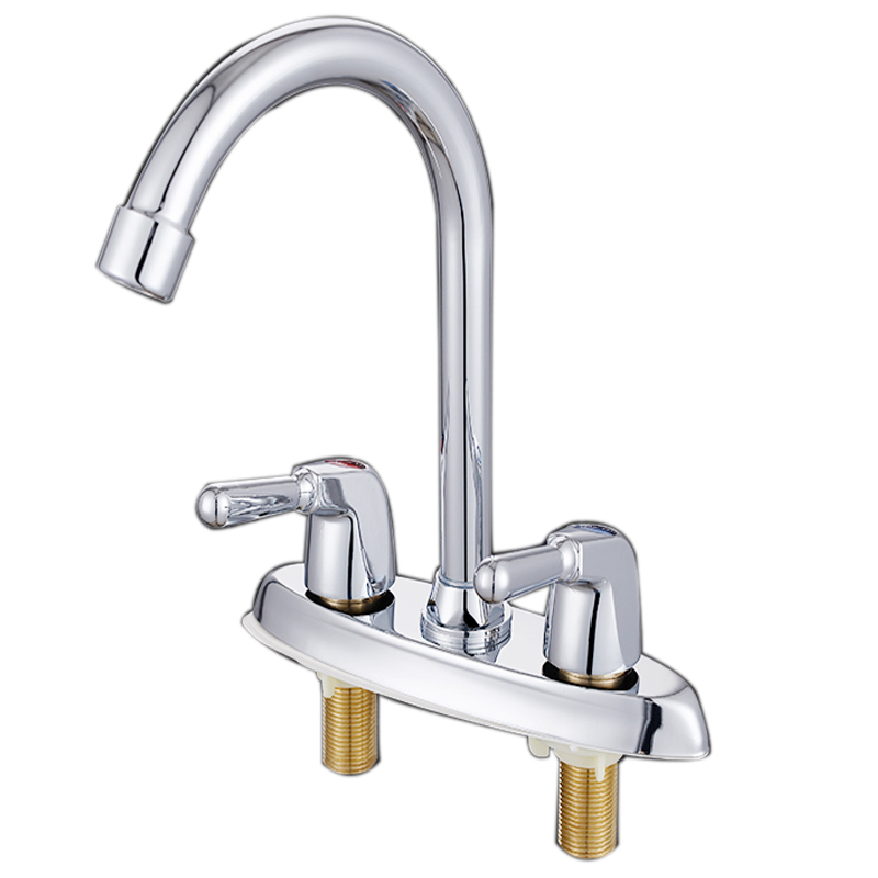 Double hole big and cold hot water faucet sink copper valve stainless steel universal rotating double basin wash lo4108