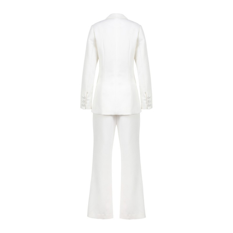 Office Dames Slim Fit White Solid Flare Broek Past Lange Mouw Enkele Breasted Blazer Suits Fashion Womens Tweedelige Sets 2019 - 3
