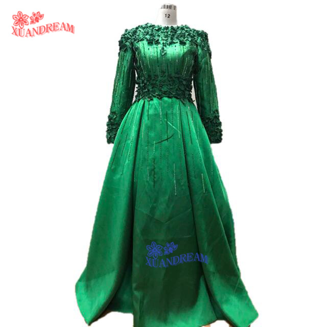 100% real made hot instagram evening dress vestidos de festa formal long  sleeves with 3D flower cheap evening dresses gown XD308-in Evening Dresses  from ... 6ac50a9ef9bd