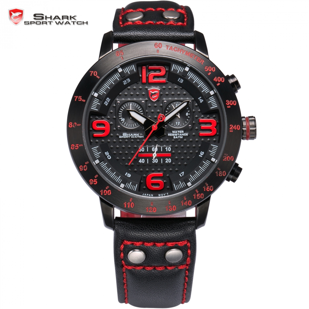 Longfin SHARK Sport Watch Men Genuine Leather Strap Full Steel Black Red Chronograph Analog Climbing Quartz Watches Gift / SH403 goblin shark sport watch 3d logo dual movement waterproof full black analog silicone strap fashion men casual wristwatch sh165
