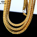 "Men's 4mm Solid Franco Chain 24K Gold Plated  Hip-Hop Box Link Curb Necklace Chain 24""  30""  36"""