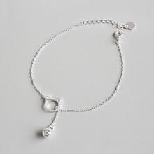 925 Sterling Silver Bracelets Simple Cute Kitten Bell Bracelet Link Chain Authentic Fine Jewelry Accessories WDB025 цена