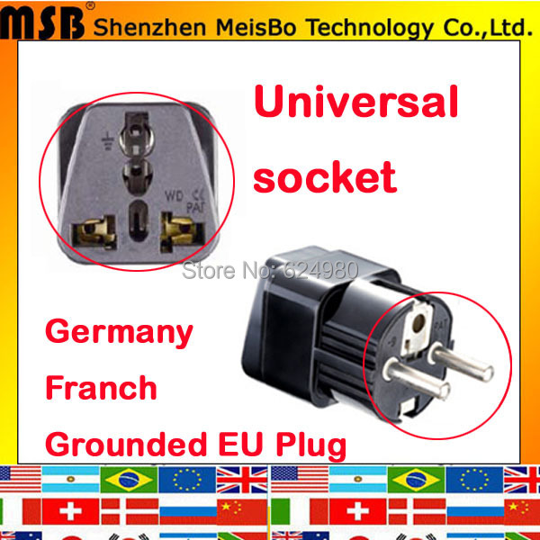 Universal Black copper abs AU US UK to EU AC Power Plug Germany Franch Travel Home Converter Adapter